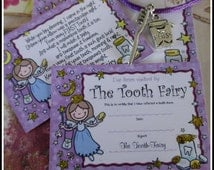 Miniature Tooth Fairy Certificate, letter, charm necklace set