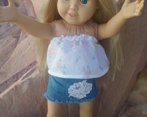 "Strapless Flowered Shirt and short Jean and lace skirt for american girl doll or any 18 inch 18"" doll"