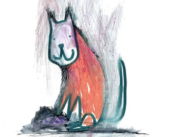 ORANGE CAT PRINT - Cat Watercolor Painting, Orange Tabby, Ginger Cat, Cat and pet, Nursery Art, whimsical cat illustration, Orange decor