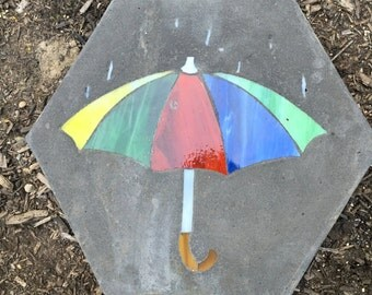Stain Glass stepping stones for garden paths