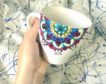 Hand-painted  Mandala Mug