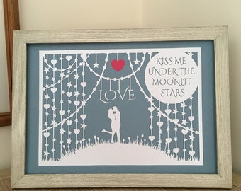 Valentine's gift, love, Kiss me under the moonlit stars papercut, framed wall art, hand cut, heart, anniversary, wedding gift