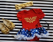Halloween Tutu Costume - 2pc Baby Girl Glitter Wonder Woman Tutu Dress Outfit with Gold Headband 0-3 Months to 12-18 Months