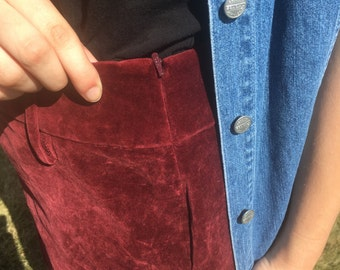 Vintage Red Velvet Mini Skirt