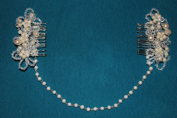 pearl and crystal bridal hairpiece /hair chain in a vintage style