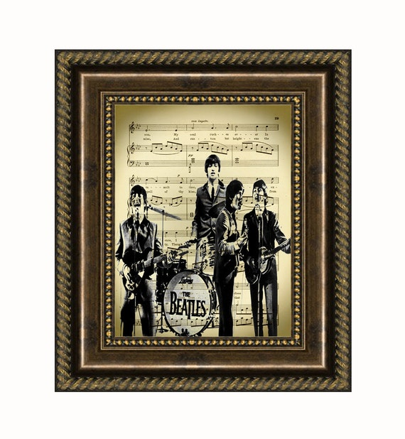 The Beatles In Concert Printed On Antique Music Page