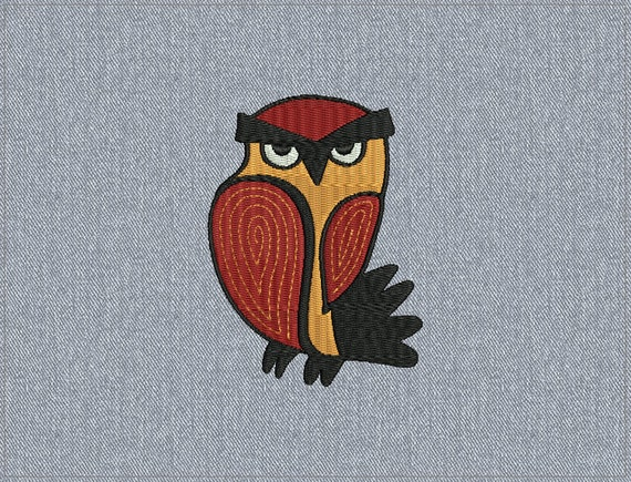 02 - Owl - Machine embroidery design - 2 sizes for instant download
