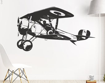 Airplane biplane - wall decals wall sticker wall sticker mural stickers wall stickers tattoo sticker interior design motif w601