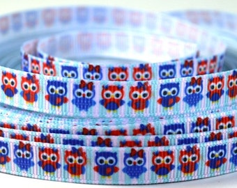 """3/8"""" Patriotic Red, White and Blue Owls - Grosgrain Ribbon"""
