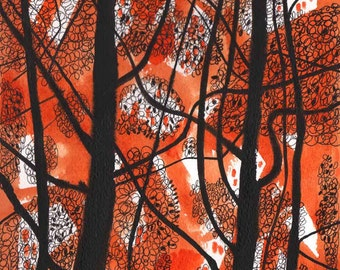 Orange abstract watercolor 8X8  black and orange artwork, watercolor abstract, small watercolor art, black ink, painting original, wall art