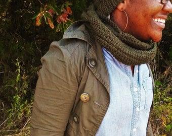 Dark Green pom pom beanie and infinity scarf