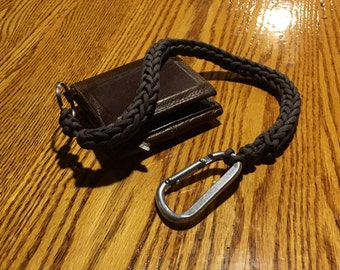 "Hand-knit wallet ""chain""/keychain lanyard - grey"