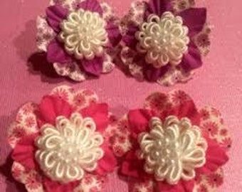 Purple or Pink with white flower center snap