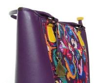 Handmade luxurious bag. Guatemalan bags. Augusto Castillo Bags.  Woman leather bag. Purple leather bag. AC Glori Bag