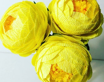 Crepe paper flower 12 Lemon Yellow Peony crepe paper flower bouquet Flore de papel paper peony crepe peony wedding bouquet idea peonies