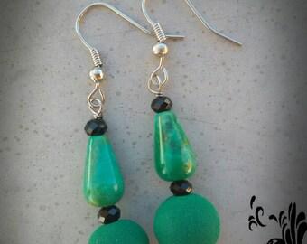 Earrings green moss