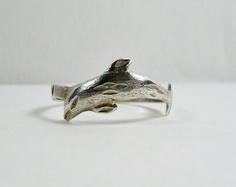 Vintage Sterling Silver 925 Dolphin Ring Size 6.5