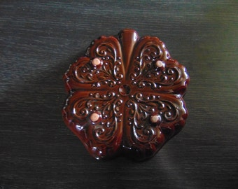 Vintage German Ceramic Baking/Jello Form with Clover design~Wall Hanging~Deko~W.Germany