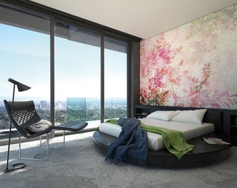 Photo Wallpaper Wall Mural for Bedroom Decor, Living Room Decor, Office or Dining Room - Clarity Cherry blossom Flowers Giant Mural