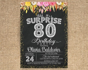 80th birthday invitations | etsy, Birthday invitations