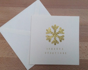 Merry Christmas Gold Snowflake Card