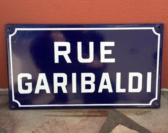 Old French Street Enameled Sign Plaque - vintage garibaldi 2