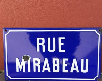 Old French Street Enameled Sign Plaque - vintage mirabeau