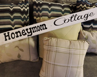 Honeymoon Cottage Sign, Painted Wood Pallet Sign, Honeymoon Sign