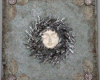Wreath Mixed Media Assemblage Canvas Art - Wreathed in Silver - Original 3D Collage - Vintage - Found Objects - Art Creations by Vicky