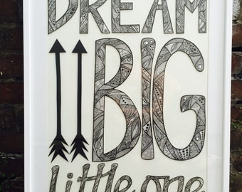 Dream Big Little One - framed pen and ink original. 70x90cms.