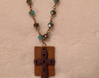 Beaded Necklace With Cross / Flat Pendants