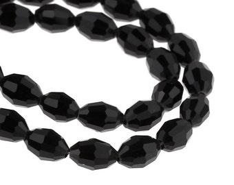 "10 glass beads ""Olive"" - 8 * 6 mm - black / A3-0078"