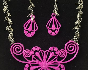 Pink 3D printed necklace earring set