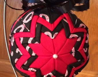 Red & Black Christmas Quilted Ornament