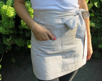 Linen Half Apron in many colours , Cafe Apron, Linen Apron, Chef, Cafe, Wrap Apron