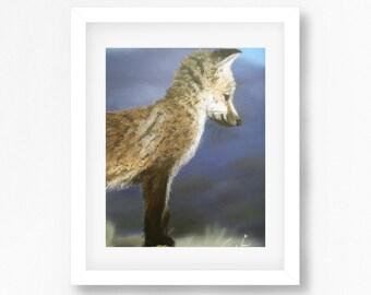 Fox Cub Painting, Fox Pastel Painting, Fox Pastel Drawing, Original Fox Print, Baby Fox Print, Fox Drawing Print, Fox Illustration Print