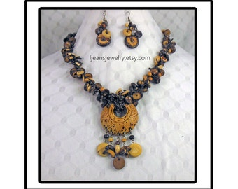 Tribal Crochet Wooden Bead Necklace and Earring Jewelry Set