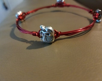 Elephant Red Wire Wrapped Bangle Bracelet