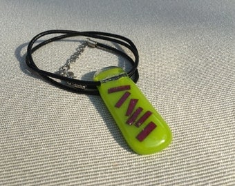 Lime green fused glass pendant with copper bars
