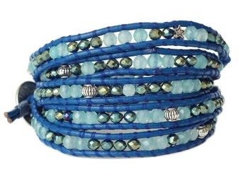 Blue Jade & Crystal 5x Wrap Bracelet