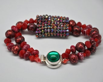 Red Flame Bracelet - Double Strands with Woven Rhinestone Sleeve