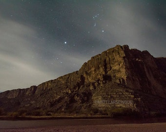 Big Bend National Park - Stars and Clouds Over Santa Elena Canyon and the Rio Grande River in Texas