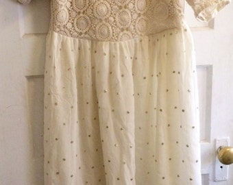 Crochet Dress with Georgette Sequined Work