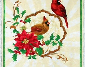 """Cardinals Panel-""""Deck the Halls"""" Christmas/Winter/Pionsettia Fabric Panel-cream background/red/green/floral- approx. 24"""" x 43"""" (#O73)"""