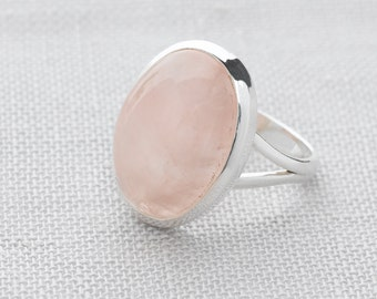 Handmade, Sterling Silver 925 Rose Quartz Ring