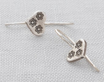 Handmade, Hand Stamped Sterling Silver 925 Heart Drop Earrings
