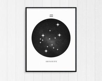 Aquarius Print, Aquarius Zodiac, Aquarius Art, Birthday Gift, Aquarius Printable Aquarius Constellation Horoscope Decor Digital Download