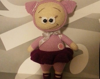 Knitted Cow Lady Doll