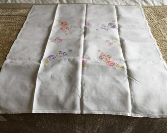 """Vintage, never been used, tablecloth. 32"""" square. Linen"""
