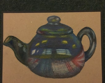 Teapot - oil pastel drawing